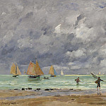Картины с аукционов Sotheby's - Eugene Boudin - Fishers and Boats near Trouville, 1892