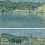 Sotheby's - Achille Lauge - View of the Port of Collioure from the Point of Saint-Vincent (diptych), 1928