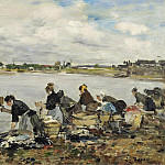 Sotheby's - Eugene Boudin - Laundresses at the bank of the Touques, 1888-95