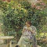 Sotheby's - Ludovic Vallee - Sewing Woman Sitting in the Garden, 1913