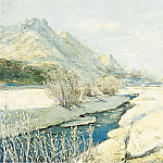Картины с аукционов Sotheby's - Georgy Lapchin - Valley Stream in the Snow
