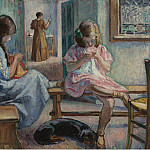 Картины с аукционов Sotheby's - Henri Lebasque Sewing Girls