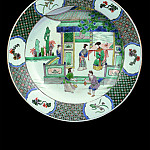 часть 3 -- European art Европейская живопись - Important Famille verte porcelain dish with court figures in a pavilion 36782 1950