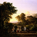 "часть 3 -- European art Европейская живопись - KГЃROLY MARKГ"" THE ELDER Italianate landscape with women crossing a bridge 32228 172"