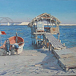 часть 3 -- European art Европейская живопись - June Bartlett Sheikh Khalifa bin Salman Bridge and Fishermans Lodge Bahrain 31526 3606