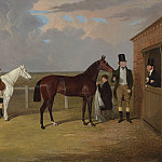 John Frederick Herring Snr Sir Mark Wood with his dark brown filly Vespa her trainer H Scott and a groom with a grey hack 28347 20, John George Brown