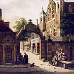 часть 3 -- European art Европейская живопись - Jan Hendrick Verheyen Dutch Street Scene with Figures in the Foreground 12290 2426