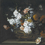 часть 3 -- European art Европейская живопись - Jean Baptiste Monnoyer Peonies Carnations Poppies & other flowers in a bronze Urn 99579 20
