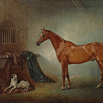 John Ferneley Snr Lord Henry Bentincks chestnut hunter Firebird and Policy a foxhoundin a loose box 98420 20, John Snr Ferneley