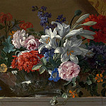 часть 3 -- European art Европейская живопись - Jean Baptiste Monnoyer Flowers in a glass vase on a marble ledge an overdoor 99520 20