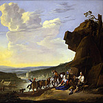 часть 3 -- European art Европейская живопись - Johannes Lingelbach An extensive river landscape with peasants resting by a shack and horses pulling a boat 46099 172