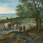Jan Brueghel The Elder Panoramic landscape with a covered waggon and travellers on a highway 97959 20, Jan Brueghel The Elder