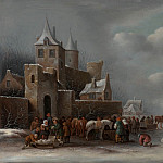 часть 3 -- European art Европейская живопись - Klaes Molenaer A winter landscape with figures conversing outside a village 99499 20