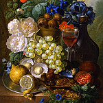 часть 3 -- European art Европейская живопись - Jan van Os Still life with fruits and flowers oysters mussels a glass of wine and a decanter 29912 172