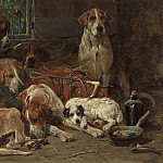 John Emms Foxhounds and a terrier resting after the hunt 28256 20, John Emms
