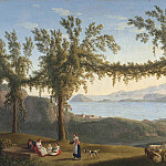 часть 3 -- European art Европейская живопись - Jakob Philipp Hackert Country folk resting benath vines in the hills above Solfatara with a view of Ischia Procida and the Bay of Pozzuoli beyond 36734 184
