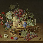 Jacob van Hulsdonck Still life of fruit in a basket and flowers in a vase 40213 20, Джейкоб Ван Халсдонк