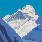 Himalayas # 203 Snowy peak against a turquoise sky background, Roerich N.K. (Part 4)