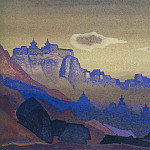 Himalayas # 16 Blue rocks on the pink sky, Roerich N.K. (Part 4)