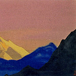 Roerich N.K. (Part 2) - Himalayas # 149 Golden peak on the pink sky