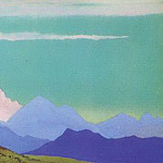 Himalayas # 75 Pink peak on the turquoise sky, Roerich N.K. (Part 4)