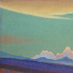 Roerich N.K. (Part 1) - Himalayas # 171 Pink peaks against a turquoise sky background