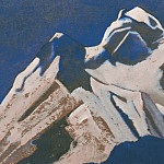 The Himalayas # 106 The sparkling peak against the background of a pale gray sky, Roerich N.K. (Part 4)