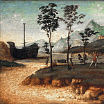 Part 1 - Giovanni Batista Cima (c.1459-1517-18) - Coastal landscape with two fighting men