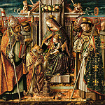 The Virgin and Child Enthroned, handing over the keys to the Apostle, Carlo Crivelli