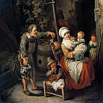 Christian Wilhelm Ernst Dietrich – Peasant family in front of their house, Part 1