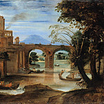 Annibale Carracci – Roman river landscape with castle and bridge, Part 1