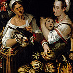 Bartolomeo Passarotti – Two market women and a boy with chicken and vegetables, Part 1