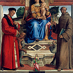 Part 1 - Bartolomeo Montagna (1449-50-1523) - Enthroned The Virgin and Child, St. Homobonus, St. Francis of Assisi