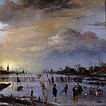 Aert van der Neer – Winter landscape with skaters at sunset, Part 1