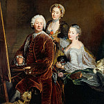 Antoine Pesne – Self-Portrait with the daughters Henriette and Marie front of the easel, Part 1