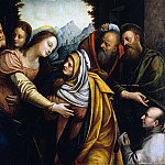 Bernardino Lanino – The Visitation of Mary with a donor, recommended by a saint, Part 1