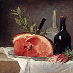 Anne Vallayer-Coster – Still life with ham, bottles and radishes, Part 1