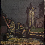 Roerich N.K. (Part 2) - Old Belgium (street in front of the castle) (Option theatrical sketch for a card)
