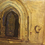 Roerich N.K. (Part 2) - Church door of St. Peter and Paul in Novgorod (scenery sketch)