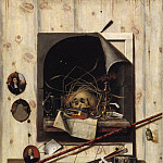 Kobenhavn (SMK) National Gallery of Denmark - Cornelis Norbertus Gijbrechts (1630 - 1675) - Trompe l'oeil with Studio Wall and Vanitas Still Life