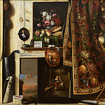 Kobenhavn (SMK) National Gallery of Denmark - Cornelius Norbertus Gijsbrechts (c. 1610- after 1675) - Trompe l'oeil. A Cabinet in the Artist's Studio