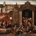 Kobenhavn (SMK) National Gallery of Denmark - Hieronymus Bosch (folower) - Christ Driving the Traders from the Temple
