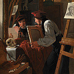 Kobenhavn (SMK) National Gallery of Denmark - Wilhelm Bendz (1804-28) - A Young Artist (Ditlev Blunck) Examining a Sketch in a Mirror