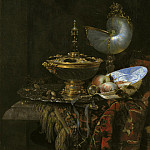Willem Kalf – Pronk Still Life with Holbein Bowl, Nautilus Cup, Glass Goblet and Fruit Dish, National Gallery of Denmark, Kobenhavn (SMK)