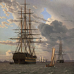 Kobenhavn (SMK) National Gallery of Denmark - Christoffer Wilhelm Eckersberg (1783-1853) - The Russian Ship of the Line Assow and a Frigate at Anchor in the Roads of Elsinore