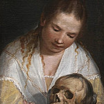Kobenhavn (SMK) National Gallery of Denmark - Casolani, Alessandro (1552/53-1607) - A Young Woman Contemplating a Skull
