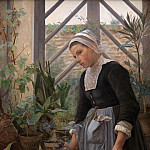 Kobenhavn (SMK) National Gallery of Denmark - Anna Petersen (1845-1910) - Breton Girl looking after Plants in Hothouse