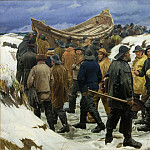 Kobenhavn (SMK) National Gallery of Denmark - Michael Ancher (1849-1927) - The Lifeboat is Taken through the Dunes