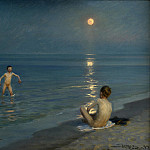 Kobenhavn (SMK) National Gallery of Denmark - Peder Severin Krøyer (1851-1909) - Boys Bathing at Skagen. Summer evening