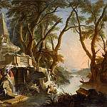 Jacques de Lajoue II -- Imaginary Landscape: the River, Part 1 Louvre